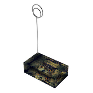 納屋の木製のゴシック様式野生の鳥の気味悪いやじり声フクロウ テーブルカードホルダー