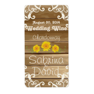 Barn Wood Sunflowers and Vintage Lace Wine Label