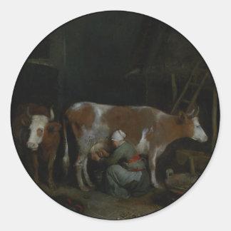 納屋の牛を搾り出している女中 ラウンドシール
