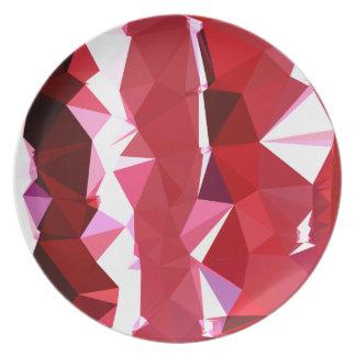 納屋の赤の抽象芸術の低い多角形の背景 プレート