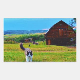 納屋を持つ猫 長方形シール