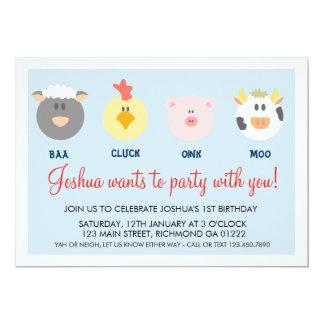 納屋周囲の庭の誕生日の招待状 カード