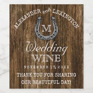 納屋木および蹄鉄の素朴な国の結婚式 ワインラベル