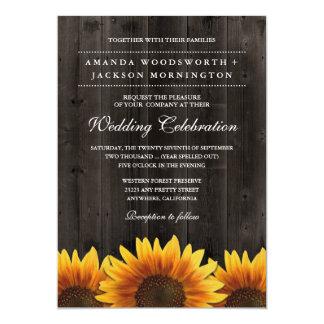納屋木 + 素朴なヒマワリの結婚式招待状 12.7 X 17.8 インビテーションカード
