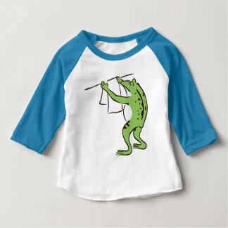 【純和風】鳥獣戯画風カエルの丁寧お洗濯ラグラン ベビーTシャツ
