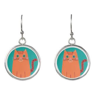 純真なヴィンテージの漫画のオレンジ子猫猫 イヤリング