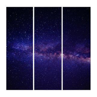 純粋な宇宙の青い暗闇の光のアクリルのトリプティク トリプティカ