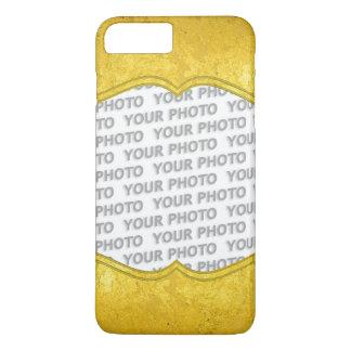純粋な金ぱくのボーダー + あなたの文字/写真 iPhone 8 PLUS/7 PLUSケース