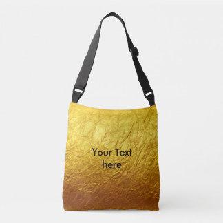 純粋な金ゴールドの紙パターン + あなたの文字/写真 クロスボディバッグ