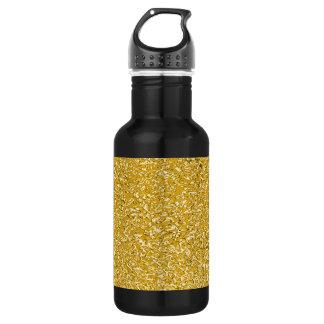 純粋な金ゴールドの(ばちゃばちゃ)跳ねるパターン + あなたの文字/写真 ウォーターボトル