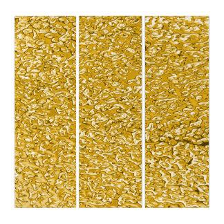 純粋な金ゴールドの(ばちゃばちゃ)跳ねるパターン + あなたの文字/写真 トリプティカ