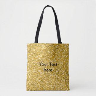 純粋な金ゴールドの(ばちゃばちゃ)跳ねるパターン + あなたの文字/写真 トートバッグ