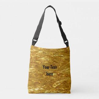 純粋な金ゴールドホイルパターン + あなたの文字/写真 クロスボディバッグ