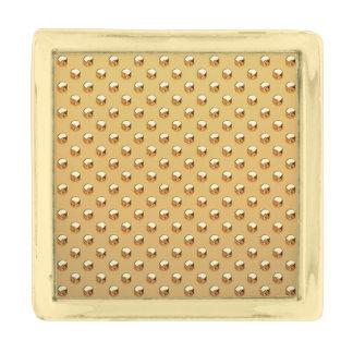 純粋な金真珠パターン + あなたの文字/写真 金色 ラペルピン