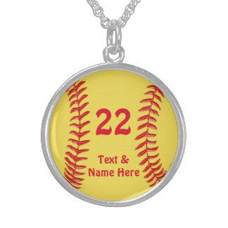 純銀製のソフトボールのネックレス、名前、数 スターリングシルバーネックレス