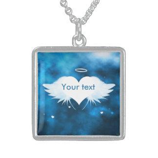 純銀製のネックレス-ハートの天使 スターリングシルバーネックレス