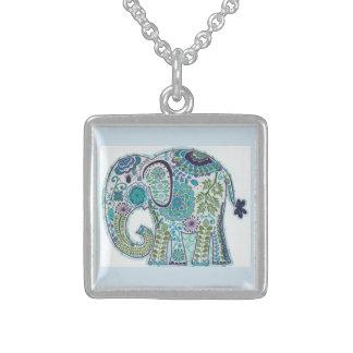純銀製のSquarのペイズリー象の鎖 スターリングシルバーネックレス