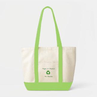 紙かプラスチックか。  いいえ、結構です。! トートバッグ