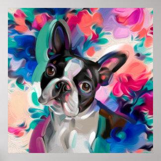 紙の「喜び」のボストンテリア犬の芸術のプリント ポスター