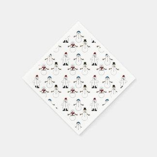 紙ナプキンの白くかわいい雪だるまのクリスマス スタンダードカクテルナプキン