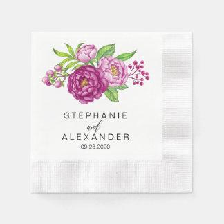 紙ナプキンを結婚しているバーガンディの水彩画のシャクヤク 縁ありカクテルナプキン