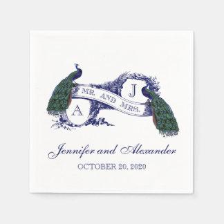 紙ナプキンを結婚しているモノグラムの孔雀 スタンダードカクテルナプキン