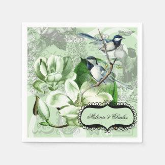 紙ナプキンを結婚している《鳥》アメリカゴガラおよびマグノリア スタンダードカクテルナプキン
