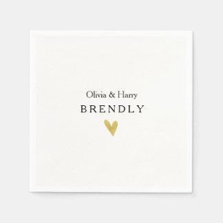 紙ナプキンを結婚するモダンな金ゴールドのハート スタンダードカクテルナプキン