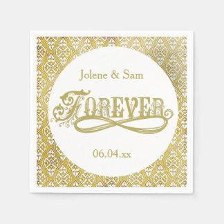 紙ナプキンを結婚する永久に金ダマスク織 スタンダードカクテルナプキン