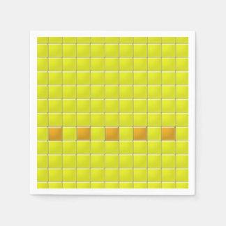 紙ナプキン-黄色のモザイク正方形 スタンダードカクテルナプキン
