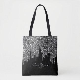 紙吹雪のグリッターのニューヨークの黒く、銀製のスカイライン トートバッグ