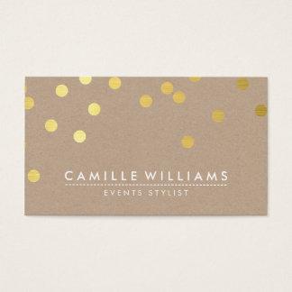 紙吹雪のモダンでかわいいドット・パターンの金ゴールドホイルクラフト 名刺