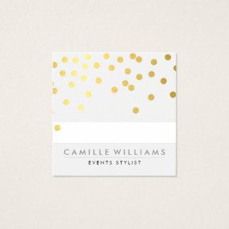 紙吹雪のモダンでかわいい水玉模様パターン金ゴールドホイル スクエア名刺