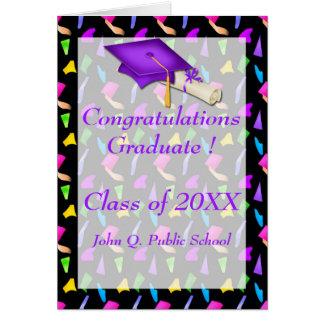 紙吹雪の卒業の挨拶状との黒 カード