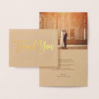 紙吹雪の点のフレームによってブラシをかけられるシックな結婚式は感謝していしています 箔カード