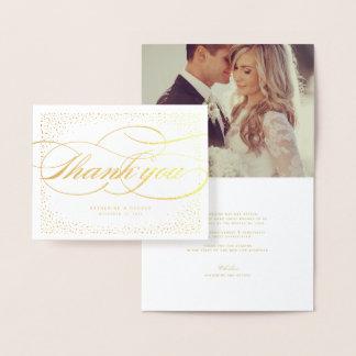 紙吹雪の点フレームのクラシックでシックな結婚式は感謝していしています 箔カード