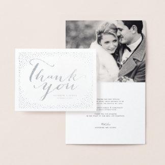 紙吹雪の点フレームのモダンでシックな結婚式は感謝していしています 箔カード
