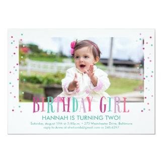 紙吹雪の誕生日の女の子の写真の招待状 12.7 X 17.8 インビテーションカード