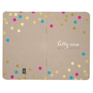 紙吹雪の魅力的でかわいい点金ゴールドのクラフトのピンクの水 ポケットジャーナル