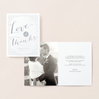 紙吹雪はフレームのモダンな結婚式の愛及び感謝に点を打ちます 箔カード
