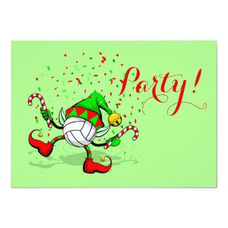 紙吹雪を持つバレーボールのクリスマスの小妖精や小人 カード