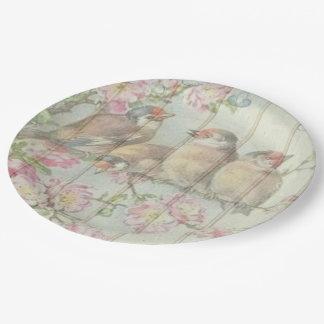 紙皿のかわいらしい歌の鳥のパステル ペーパープレート