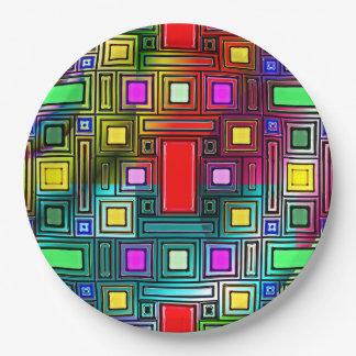 紙皿のカラフルそしてカッコいいの幾何学的設計 ペーパープレート