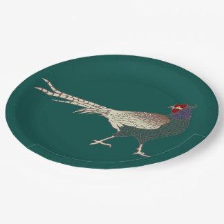 紙皿のヴィンテージのレトロのキジの鳥のターコイズ ペーパープレート