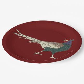 紙皿のヴィンテージのレトロのキジの鳥のメルローの赤 ペーパープレート