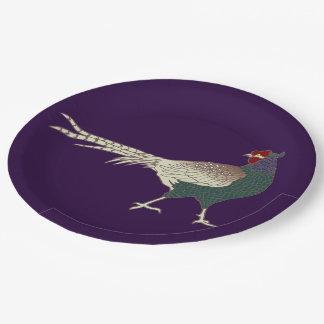 紙皿のヴィンテージのレトロのキジの鳥の紫色 ペーパープレート
