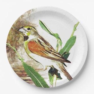 紙皿の秋のかわいらしい歌の鳥 ペーパープレート