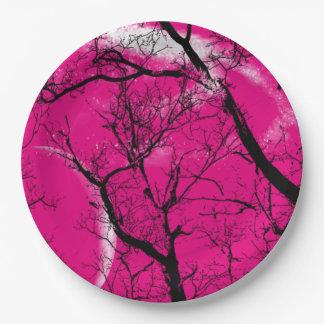 紙皿の   抽象芸術のショッキングピンクの月の木 ペーパープレート