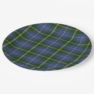 紙皿の   青いノバスコシアのタータンチェック格子縞 ペーパープレート