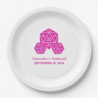 紙皿を結婚するピンクD20サイコロ ペーパープレート